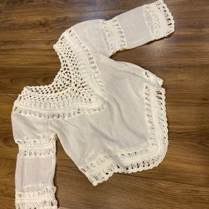 EUC Sleeve Cover Up Crochet Top Size X Small